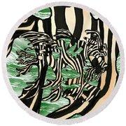 Sea Zebra Dragon 2 Round Beach Towel