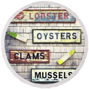 Seafood Signs Round Beach Towel