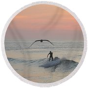 Seagull And A Surfer Round Beach Towel