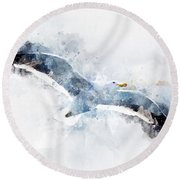 Seagull In Flight With Watercolor Effects Round Beach Towel
