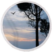 Seagull Sunset At Catawba Round Beach Towel