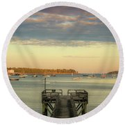 Round Beach Towel featuring the photograph Seal Harbor At Low Tide by Dan Sproul