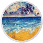 Round Beach Towel featuring the painting Searching For Rainbows by Tracy Bonin