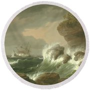Seascape, 1835 Round Beach Towel