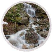 Seasonal Waterfall - Franconia Notch, New Hampshire Round Beach Towel