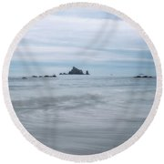 Round Beach Towel featuring the photograph Seastacks And Seagulls by Sharon Seaward
