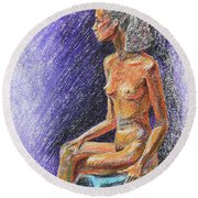 Seated Nude Model Study In Pastel  Round Beach Towel