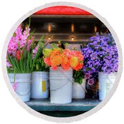 Seattle Flower Market Round Beach Towel