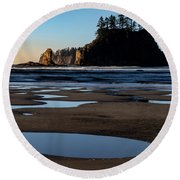 Round Beach Towel featuring the photograph Second Beach by Ed Clark