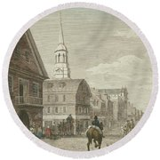 Second Street North From Market St. And Christ Church Round Beach Towel