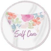 Self Care- Art By Linda Woods Round Beach Towel
