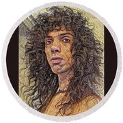 Self Portrait - The Shawn Mosaic - 80s Glam Rock Round Beach Towel