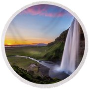 Seljalandsfoss At Sunset Round Beach Towel