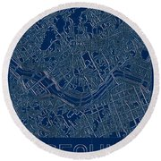 Seoul Blueprint City Map Round Beach Towel