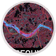 Seoul City Map Round Beach Towel