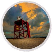Setting In The Clouds Round Beach Towel