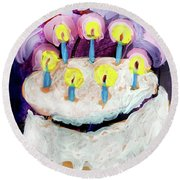 Seven Candle Birthday Cake Round Beach Towel