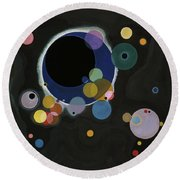 Round Beach Towel featuring the painting Several Circles - Einige Kreise by Wassily Kandinsky