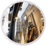 Round Beach Towel featuring the photograph Sevilla Streets by Alex Lapidus