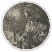 Sewing By Lamplight Round Beach Towel