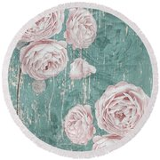 Shabby Chic Roses Distressed Round Beach Towel