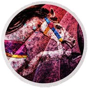 Round Beach Towel featuring the photograph Shades Of Antique Carousel by Michael Arend