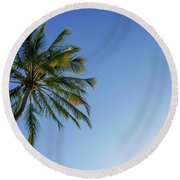 Shades Of Blue And A Palm Tree Round Beach Towel