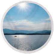 Round Beach Towel featuring the photograph Shadow Mountain Lake by Nicole Lloyd