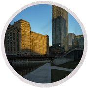 Shadows Of The City Round Beach Towel