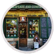 Shakespeare And Company Bookstore Round Beach Towel