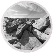 Shapes By The Sea Round Beach Towel