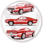 Shelby Gt500  Round Beach Towel