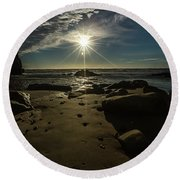 Shell Beach Sunburst Round Beach Towel