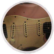 Shelly Pink Guitar Round Beach Towel