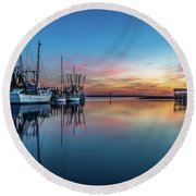 Shem Creek Blue Hour, Mt. Pleasant Sc Round Beach Towel
