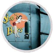 She's The Boss, World War 2 Navy Avenger Torpedo Bomber Round Beach Towel