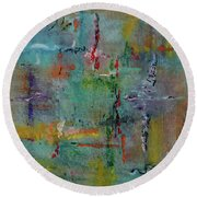 Round Beach Towel featuring the painting Shimmering by Karen Fleschler
