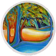 Shimmering Whispers Round Beach Towel