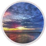 Ship Bottom Sunset Round Beach Towel