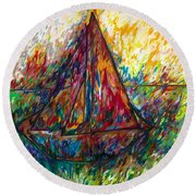 Ship In Color Round Beach Towel
