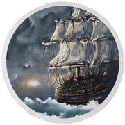 Ship Voyage Round Beach Towel