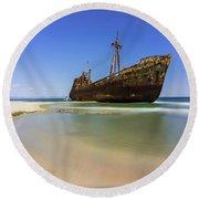 Shipwreck Dimitros Near Gythio, Greece Round Beach Towel