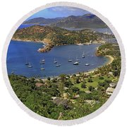 Round Beach Towel featuring the photograph Shirley Heights by Tony Murtagh