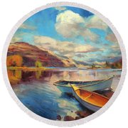 Round Beach Towel featuring the painting Shore Leave by Steve Henderson