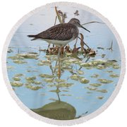 Shorebird Reflection Round Beach Towel