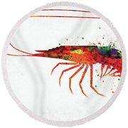 Shrimp Colorful Watercolor Round Beach Towel