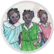 Shy Girls From South Alabama Round Beach Towel
