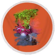 Round Beach Towel featuring the photograph Sidewalk Floral In Brownsville by Thom Zehrfeld