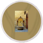 Sienna Fountain Courtyard Round Beach Towel
