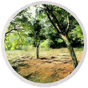 Silence Of Forest Round Beach Towel